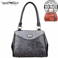 Montana West TR26G-L8036 Trinity Ranch Tooled Concealed Carry Handbag