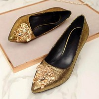 Versace Fashion new women pointed high heels shoes women Golden