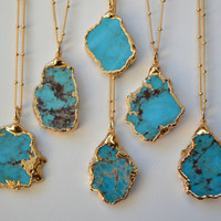 MEDIO AQUA  /// Turquoise Chunk Necklace /// Electroformed 24kt Gold