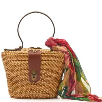 Patricia Nash Spring Wicker Collection Caselle Basket Bag with Floral Scarf | Dillards