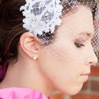 Fontaine - White Lace and Pearl Vintage Inspired Bridal Birdcage Veil Headband
