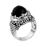 """SR-5402-ONX-9"""" Sterling Silver Ring With Black Onyx"""