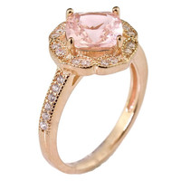 Cushion Cut Created Pink Morganite Floral Halo Engagement Ring Rose Gold Over Sterling Silver