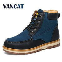 VANCAT Super Warm Men's Winter Pu Leather Ankle Boots Men Winter Waterproof Snow Boots Leisure Martin Winter Boots Shoes Mens