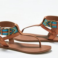 AEO Women's Beaded Slingback Sandal (Tan)