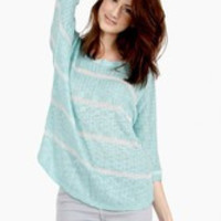 Sandy Stripe Sweater Color: Mint, Size: M-l