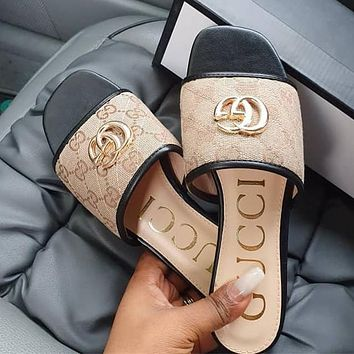 GUCCI New style square slippers in summer