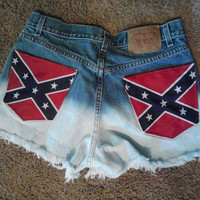 Rebel Flag denim shorts