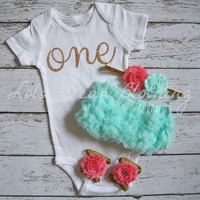 Baby Girl 1st Birthday Outfit Photography Props Gold One Onesuit Mint Bloomers Cake Smash Outfit Coral Gold Headband Sandals