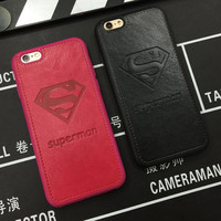 Superman S logo Minnie Mickey Imperial crown Pu letters Phone back cover Case For iPhone 7 6 6s 4.7 / 7 plus 5.5 Pink and Black