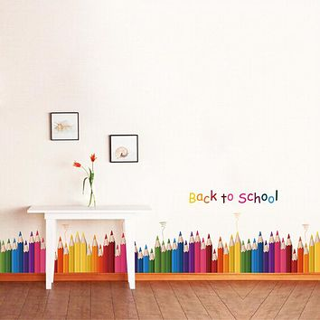 Cute Removable Colorful Pencil Wall Sticker Room