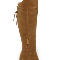 Sbicca Gusto Tan Suede Leather Over the Knee Boots