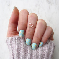 Rose Gold Heart Ring// friend ring, love, chic,for her,heart midi ring,heart ring, Knuckle Ring, Dainty, Adjustable ring, Girlfriend, Gift