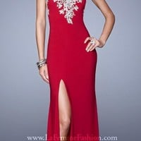 Metallic Embroidered Jersey Prom Dresses by La Femme