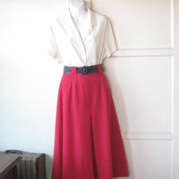 Vintage Cherry Red Divided-Style Midi Skirt; Women's Medium Victorian Horsewoman/Riding Style Skirt w/ Pockets; Roth-Le Cover of California