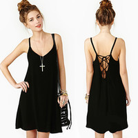 Sexy Black Loose Backless Chiffon Slip Mini Dress Party Evening Clubwear Womens