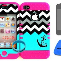 Bumper Case for Apple iphone 4 4G 4S Blue Block Chevron with small Anchor Hard Plastic Snap on over Pink Silicone Gel(Wireless fones Wristband, Screenprotector,and prytool included)