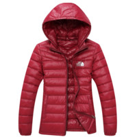 The North Face Men  2017 Brand New Ultralight Down Jacket Winter Outwear Zipper Thin Coat Wine red
