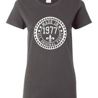 Made in 1977 All Original Parts Tshirt. 38th Birthday Shirt.  Funny Birthday Tshirts. Ladies and Mens Unisex Styles. Makes A Great Gift.