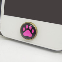 1PC Glass Epoxy Transparent Times Gems Pet Dog Paw Printer Alloy Cell Phone Home Button Sticker Charm for iPhone 6, 4s,4g,5,5c Kids Gift