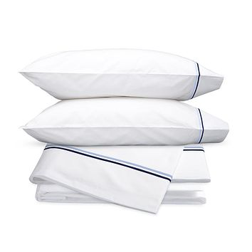 Essex Navy Embroidered Hotel Sheet Set by Matouk