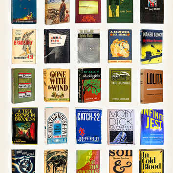 Great American Novels Typology - Literary Poster - History of Literature - Novel Poster - Writing Poster - Mockingbird - JD Salinger -