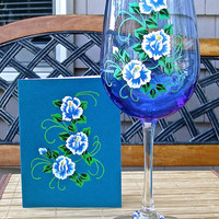 Hand Painted Wineglass and Card All Occasion Gift Set