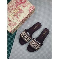 Christian Dior Dway Embroidered Cotton Mule Sandals