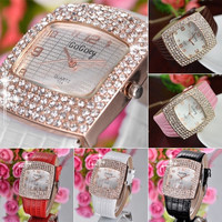 Women's Hot Deluxe Square Shiny Crystal Rhinestones Faux Leather Analog Wrist Watch = 1956363908