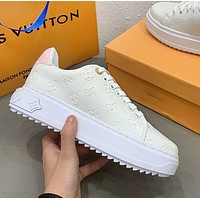 LV Louis Vuitton New Stylish Women Casual Leather Sport Shoes Sneakers(Pink Tail)