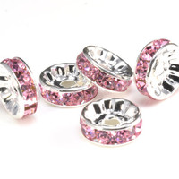 pink crystal rondelle beads - silver tone wheel spacers - round edge jewelry separators - wholesale brass spacer beads -100pcs