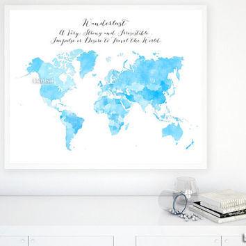 "60x48"" PRINTABLE world map with countries and names, distressed vintage, shades of blue poster, Wanderlust, large printable map - map138 012"