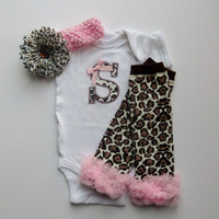 Baby Girl Gift Set Monogram Cheetah and Pink Onesuit With Leg Warmers
