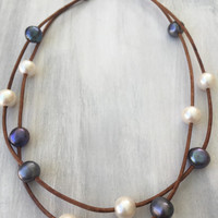 Multistrand leather freshwater pearl necklace, leather and pearls,pearls on leather, pearl jewelry, freshwater pearl necklace, pearls
