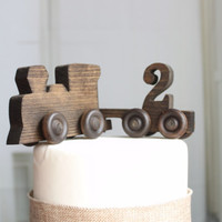 Old-fashioned Wood Toy Train Cake Topper with Number Cart