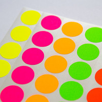 70 green neon sticker, circle sticker, paper circle label, round letter envelope seal, self adhesive bag seal gift packaging 0.75 inch