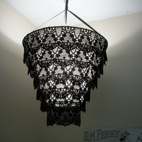 Venise Lace Faux Chandelier Pendant Lamp Shade 'Black'(((((will be on vacation on July 7-15))))