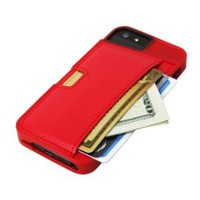 iPhone 5/S/SE Wallet Case - Q Card Case for iPhone 5/5S/SE by CM4 - Protective Wallet Cover (Red Rouge)