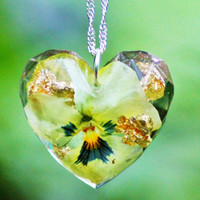 FLORAL VIOLA NECKLACE with real gold flakes- Transparent Resin Jewelry With Real Flowers