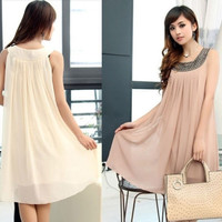 Summer Fashion Womens Chiffon Sleeveless Maternity Pregnant Beads Dress Casual = 1697487236