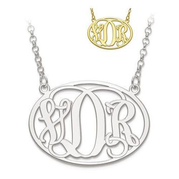 Personalized Oval Monogram Pendant Necklace - Sterling Silver or Solid Gold