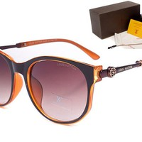 LV Mirrored Flat Lenses Street Fashion Metal Frame Women Sunglasses [2974244739]