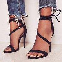 Ankle Lace Up Simple Open Toe Stiletto High Heel Sandals