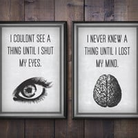 I Couldn't See A Thing. Motivational Poster Set. Bring Me The Horizon BMTH Lyric Art Print. 30x42cm, 21x30cm.