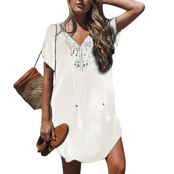 Boho Tunic, Embroidered Stitching, Tassel Tie Cover Up