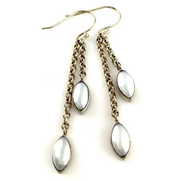 Pearl Chain Sterling Silver Earrings