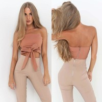 Clothing Summer Casual Sexy Ladies  Solid Zipper Tube Tops