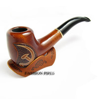 """Author Tobacco Pipe / Pipes-Smoking Pipe/pipes-Wood/wooden Pipe Inlaid """"USSR Hammer and Sickle"""" ......Limited Edition....."""