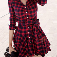 Red Plaid Long Sleeve Tie-Waist Dress