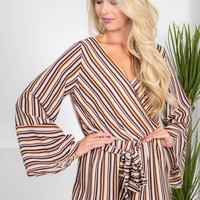 Autumn Stripe Ivory Romper